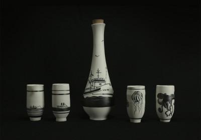 botella cerámica artesanal barcos y mar
