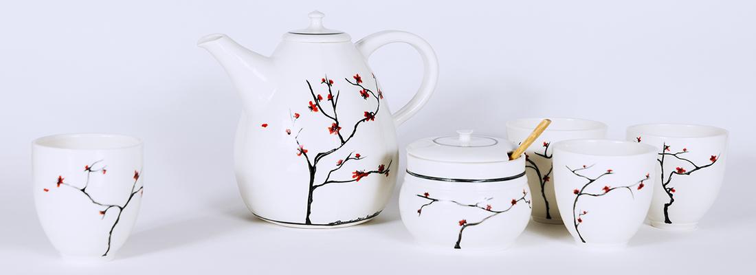 juego de té cerámica estilo japonés