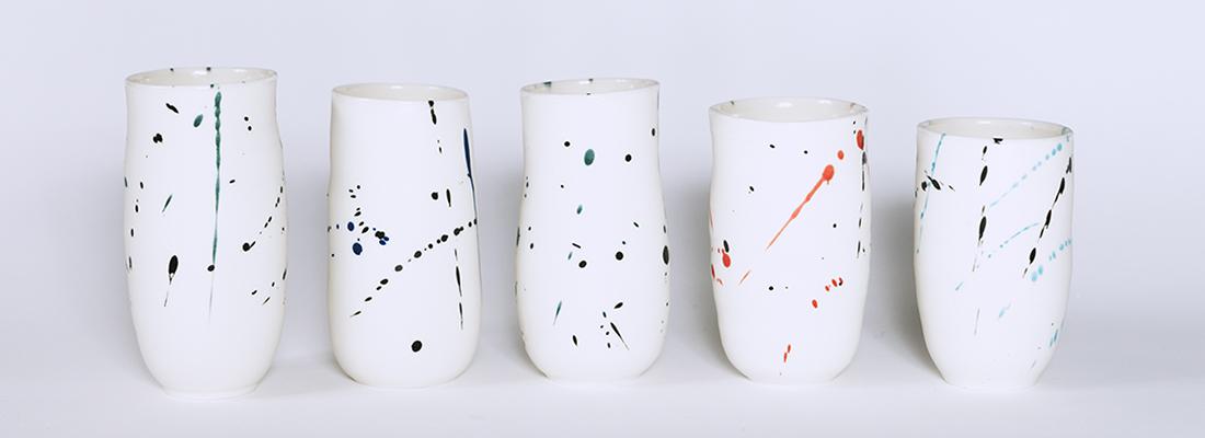 vasos de cerámica decorados