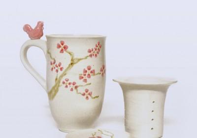 taza infusiones ceramica artesanal flores