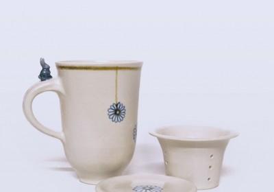 taza para infusiones ceramica flores azules