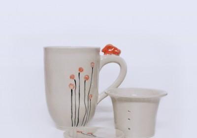 taza cerámica infusiones conejo naranja