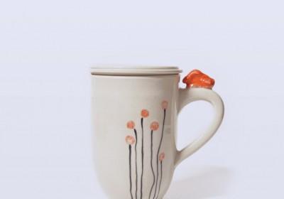taza de infusiones hecha a mano ceramica flores