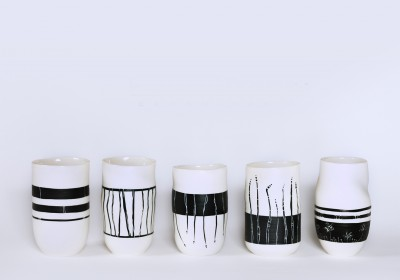 vasos de chupito hechos a mano cerámica bambu