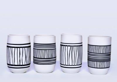 vasos de chupito hechos a manos de rayas