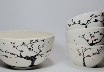 Conjunto bowls flores de cerezo