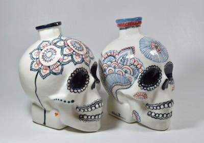 botellas calavera flores colores