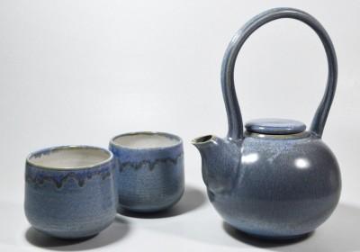 juego de té azul