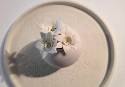 plato porcelana flores eternas