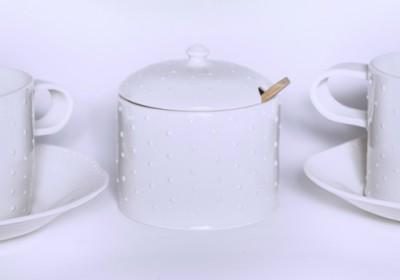 tazas porcelana puntos azucarero