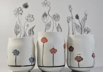 vaso chupito tres flores